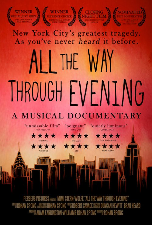 US Poster for film ALL THE WAY THROUGH EVENING. The poster art is a vibrant red and orange sunset behind a hand drawn silhouette of Manhattan. There are 12 4 star reviews on the poster.