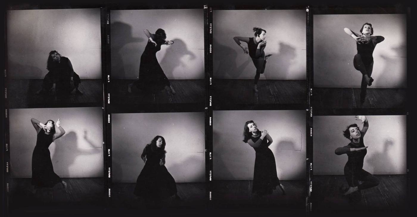 8 small black and white images of dancer Edith Stephen pulling dynamic poses. This is a proofsheet from a photo shoot which occurred in the early 1960s.