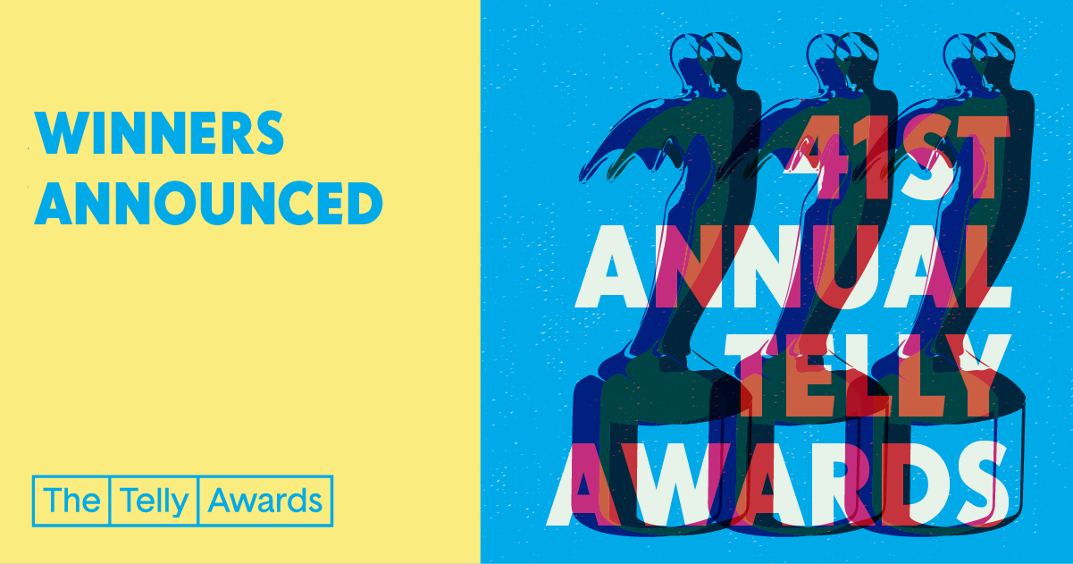 Colourful graphic of statuette, featuring the text '41st Annual Telly Awards' and 'Winners Announced'